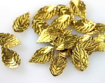 10pcs Raw Brass Leaf Charms 10mm, Brass Leaf Pendant