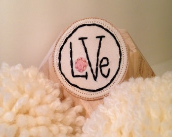 "Embroidered brooch ""Love"""