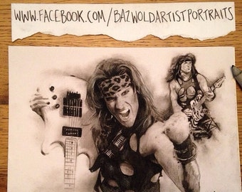 PRINT of a Hand Drawn Charcoal Pencil Drawing ' Steel Panther - Satchel' Size A4