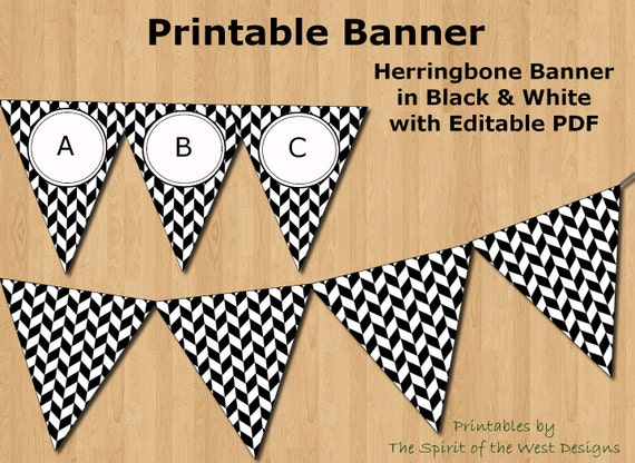 black and white herringbone banner editable pdf printable, Powerpoint templates