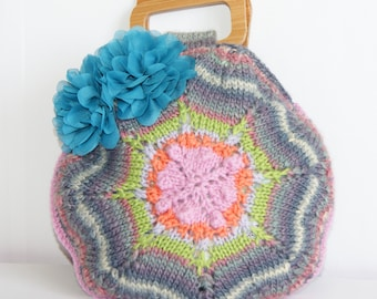 Handmade Handknit Handbag by Meen Bags, Tote, Shopper, Handbag, Pretty, Vintage Inspired, Retro Style