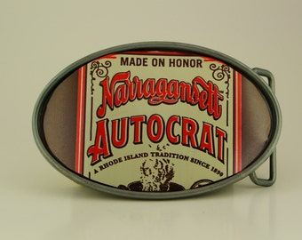 Autocraft Coffee Milk Stout by Narragansett Beer Upcycled Beer Belt Buckle
