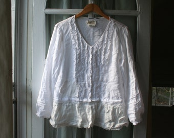 White Linen 'Jasmine' Altered Couture Blouse / - by Breathe-Again Clothing