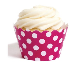 12 Bright Pink Polka Dot Cupcake Wrappers - Bright Pink Cupcake Wrappers - Cupcake Holders - Cupcake Wraps - Cupcake Sleeves