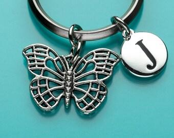 Butterfly Keychain, Modern Butterfly Key Ring, Initial Keychain, Personalized Keychain, Custom Keychain, Charm Keychain, 56