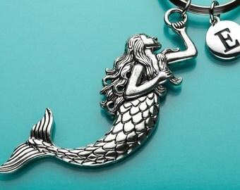 Huge Mermaid Keychain, Mermaid Key Ring, Sea Creature, Initial Keychain, Personalized Keychain, Custom Keychain, Charm Keychain, H9