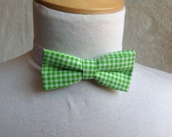 Green and white bow tie for children