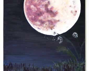 SALE Dandelion Moon Large Original Oil Painting by Aaron S. Dye