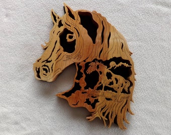 Wall art Horse head with Horse Scene Scrollsaw Oak hand made-to-order