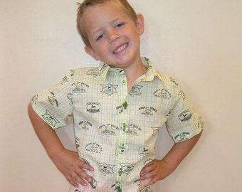 Boys Button Up Short Sleeve Shirt John Deere Fabric