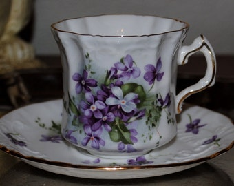 "Antique Coffee, Tea Cup and Saucer, RARE, Antique 1920's Hammersley Embossed, Hand Painted ""Victorian Violets"" Purple Flowers with Gold Rim"