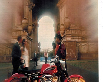 Vintage Print Ad 1969 : Harley Davidson Sportster XLH Motorcycle