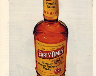 "Vintage Print Ad 1969 : Early Times Kentucky Straight Bourbon Whisky ""don't be quart short"" Advertisement Color Wall Art Decor 8.5"" x 11"""