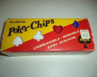 Vintage Astor Plastic Poker Chips - 100 Chips Red / White / Blue 1960's