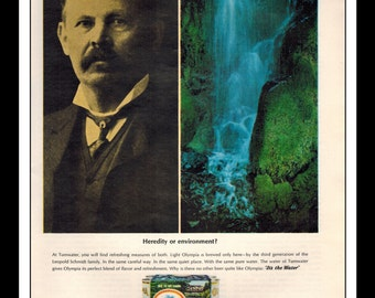 """Vintage Print Ad February 1966 : Olympia Beer Waterfall Six Pack Wall Art Decor 8.5"""" x 11"""" Advertisement"""