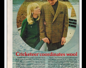 "Vintage Print Ad November 1967 : Cricketeer Wool Fashion Clothing Sexy Girl Sea Wall Art Decor 8.5"" x 11"" Advertisement"