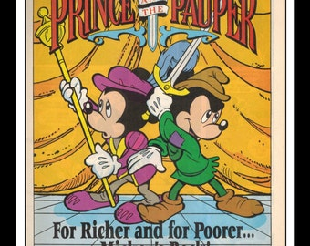 "Vintage Print Ad 1990's : Disney's The Prince and the Pauper Mickey Mouse Comic 6.5"" x 10"" Advertisement"