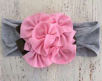 READY TO SHIP, Baby Girl Headband, Baby Headband, Flower Headband, Rosette Headband, Little Girl Gift, Little Girl Headband, Baby Gift