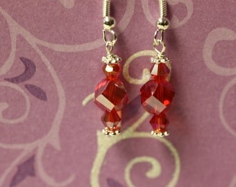 Red Crystals on Sterling Silver Earwires. (S-150038)