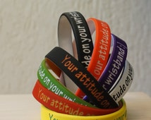 1 Personalized silicone wristband * Personalized silicone band with custom text * different color bracelet * Customized 2 colors bracelet