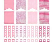 Pink Printable Planner Stickers, Planner Page Flags, Life Planner Stickers, Organizer, Decorations - Erin Condren Life Planner
