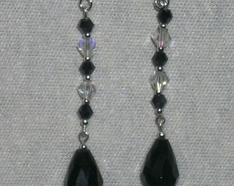 "3"" Black and Clear Swarovski Crystal Earrings with Black Teardrop Dangles HANDMADE #E-43"