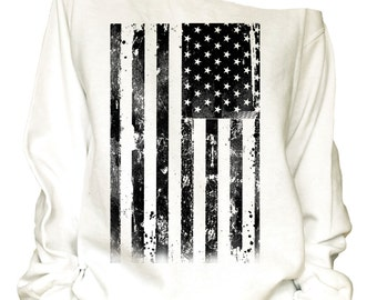 USA print oversized off shoulder  raw edge  sweatshirt