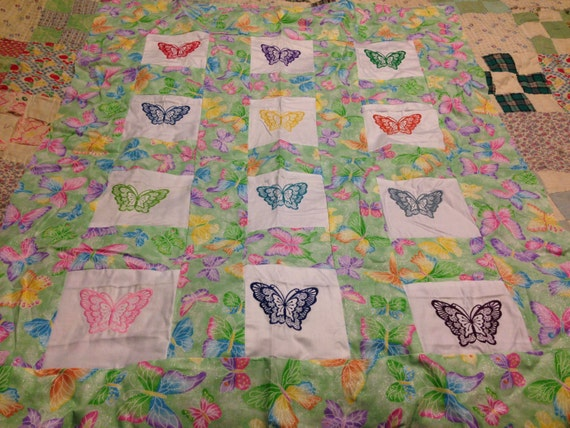 Embroidered Butterfly Lap Quilt Top By Colormepinkcreations