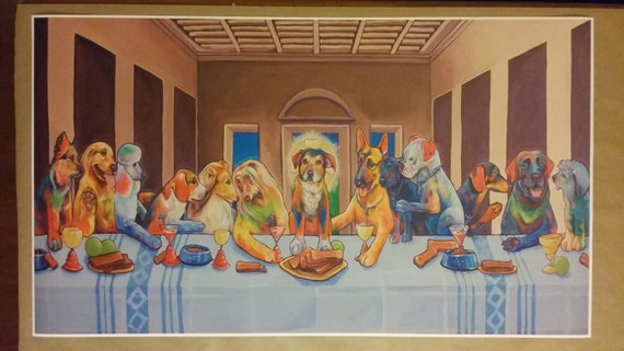 Dogs Last Supper GIANT Wide Digital Painting Poster 42x