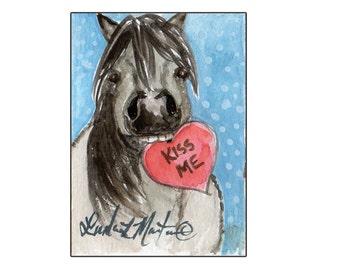 Roan Pony Valentines Day llmartin Original ACEO  Watercolor