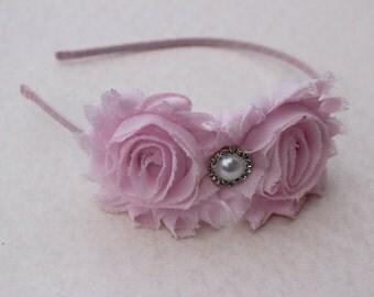 Light pink Flower girls headband toddler light pink wedding headband metal satin headband toddler hard pink headband flower girl outfit
