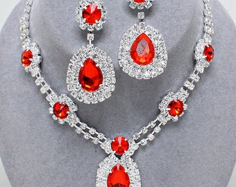 Red jewel Necklace/Earring set
