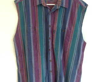 Vintage Men's Sleeveless Colours by Alexander Julian button down shirt