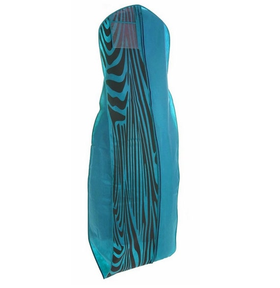 Turquoise With Zebra Print Breathable Wedding Gown Dress