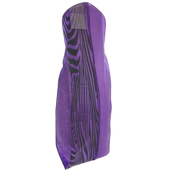 Purple zebra print breathable wedding gown garment bag big for Zebra print wedding dress