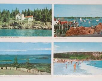 Set of 4 vintage coast of Maine postcards