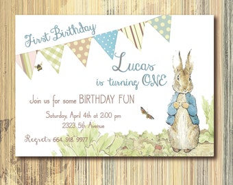 Vintage Peter Rabbit Birthday Invitation printable/Digital File/Peter Rabbit 1st Birthday, Beatrix Potter, boy birthday, rabbit birthday