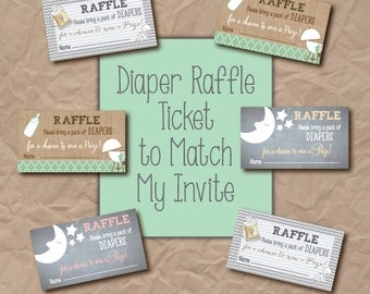Diaper Raffle Ticket to Match any Invitation on my shop / digital file  or printing file