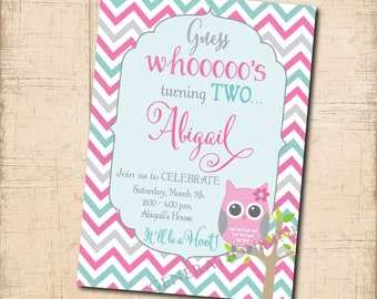 Owl Birthday Invitation printable/Digital File/girl owl invitation, 2nd birthday, 1st birthday owl invitation/Wording can be changed