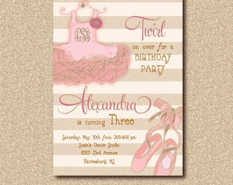 Dance/Ballerina Birthday Invitation/  digital file /printable / wording can be changed for any age / custom monogram in tutu