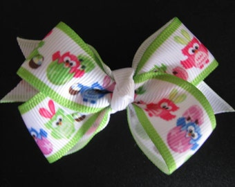 easter owl bow girl hair bow clip accessories