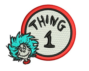 Dr Seuss Embroidery Design - Thing 1 - 3 sizes Instant Download