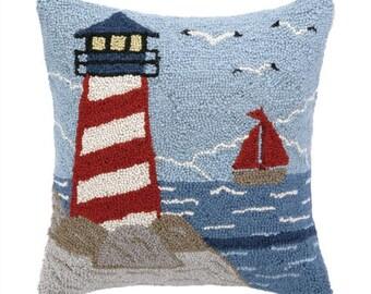 Beach Light Tower Hand-Hooked pillow