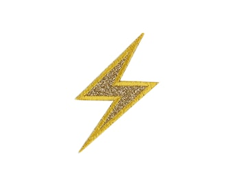 High Voltage Sign Glitter Lightning Bolt Emoji Embroidered Iron On Patch - FREE SHIPPING