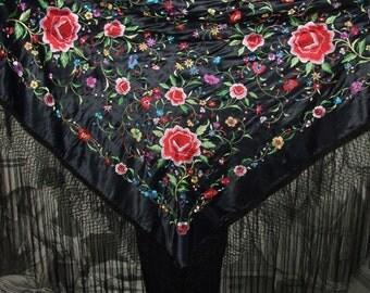 Vintage Hand Embroidered Shawl/Vintage Shawl & Black Silk Fringe/Antique Floral Piano Scarf/Silk Shawl/Large Fringe Shawl/Embroidered Floral