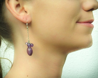 Amethyst and flourite silver dangle earrings