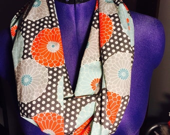 Flower and Polka-Dot Infinity Scarf, Spring Scarf, Mother's Day Gift, Gift for Her, Polka-Dot Accessory