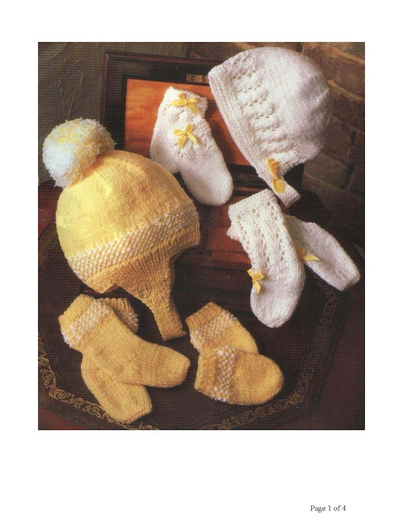 Vintage Knitting Pattern Knit Baby Hat Mitts and Socks set