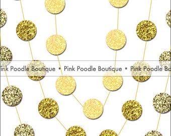 5' Glitter CONFETTI GARLAND -- Pastel Yellow