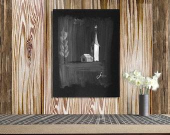 Black and white original painting of church, wall decor, wall hanging, wall art